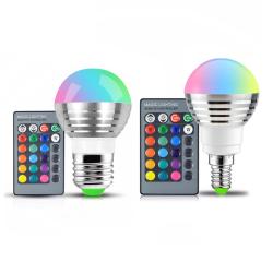 2 st E14 RGB LED-lampa 16 Färg flerfärgad
