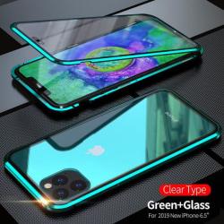 Dubbelsidig magnet fodral med härdat glas för iphone 11 pro|grön