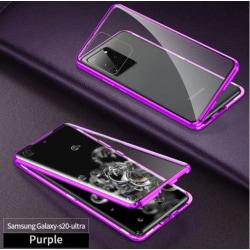 Dubbelsidigt glas magnetisk metall för Samsung S20plus lila lila