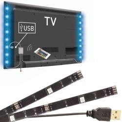 LED-strip 2x50cm RGB med fjärrkontroll, TV bakgrundsbelysning