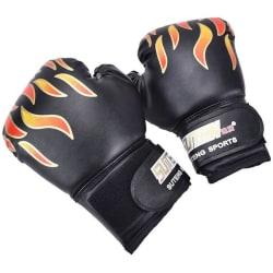 Boxningshandskar, svarta med eldsflammor, 5-14 år