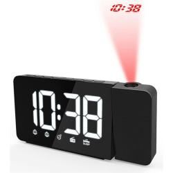 Väckarklocka med projektion och LED-display