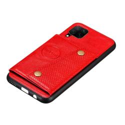 Stilsäkert Smidigt Skal med Kortfack - Samsung Galaxy A42 Röd