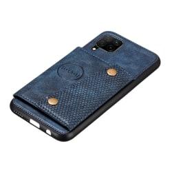 Smidigt Skal med Kortfack - Samsung Galaxy A12 Mörkblå