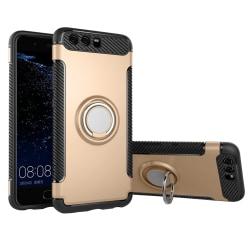 Huawei P10 - Robust Skyddsskal med Ringhållare Guld