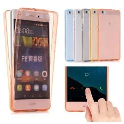 Huawei P10 - Dubbelsidigt Silikonfodral med TOUCHFUNKTION Blå