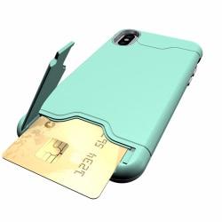 Praktiskt Smart Jensen Skal med Kortfack - iPhone XR Grön