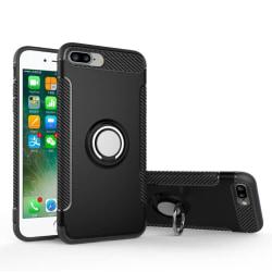 iPhone 8 Plus - Exklusivt Smart Hybridskal Ringholder(MAX SKYDD) Svart