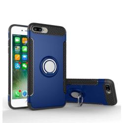 iPhone 8 PLUS - HYBRID Carbon skal med Ringhållare från FLOVEME Blå
