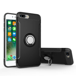 FLOVEME Hybrid-Carbonskal (Ringhållare) iPhone 8 Plus(MAX SKYDD) Svart