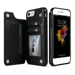 iPhone SE 2020 - NKOBEE Praktiskt Läderskal med Kortfack Svart