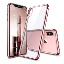 iPhone X - Exklusivt Stilsäkert Silikonskal Från HUTECH Roséguld