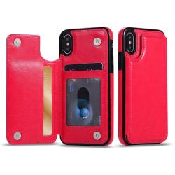 iPhone XR - Skal med Plånbok/Kortfack Rosaröd