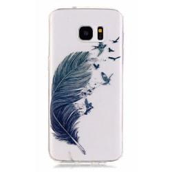 Samsung Galaxy S8 PLUS Fjäder fåglar Henna Blå Vit