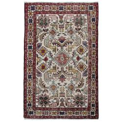 Handknuten Persisk Vintagematta Tabriz Ull 84x132cm Vit