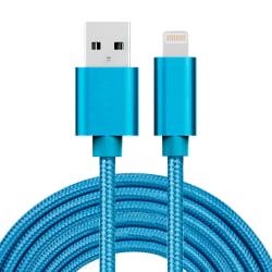 Kabel Lightning kontakt för iPhone & iPad Blå/Nylon, 3m