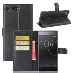 Litchi plånboksfodral för Sony Xperia XZ Premium - svart