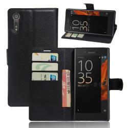 Litchi plånboksfodral för Sony Xperia XZs - svart