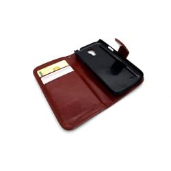 Galaxy S4 Mini fodral plånbok läder skal brun Brun