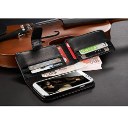 Galaxy S4 plånbok fodral 7 korthållare läder Svart