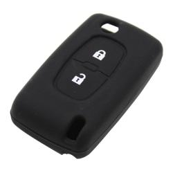 Silikon 2 knappar bilnyckeln PEUGEOT svart Svart