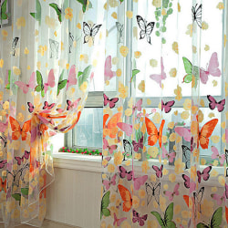 1 X Butterfly Print Sheer Curtain Panel Window Balkong Tulle Ro