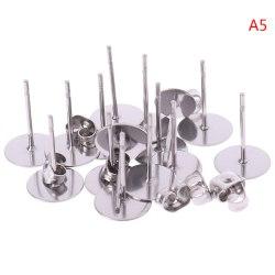 100st stål allergivänliga Flat Pad örhänge öronstolpe 3-12mm Fi A5