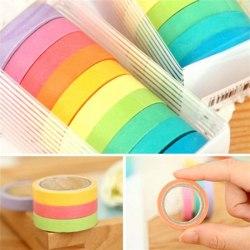 10x Rainbow Washi Sticky Paper Masking självhäftande tejp Multi One Size