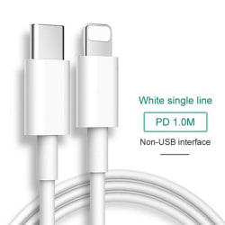 18/20 / 36wPD + QC Snabbladdare IPhone Lightning Type-c Plug Datum C Data Line - 1M