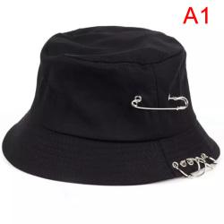 1PC Unisex Bucket Hat Pin Rings Sunhat Caps Summer Hat Black