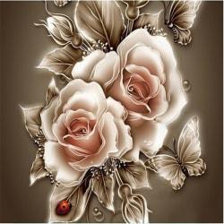 1set 3D diamantmålning DIY Heminredning Rose & Butterfly Diamond