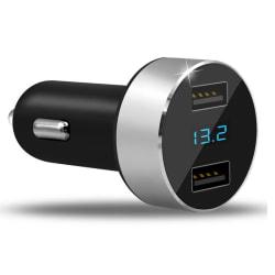 3.1A Dual USB Billaddare Adapter LED-skärm Snabb laddning för Silver