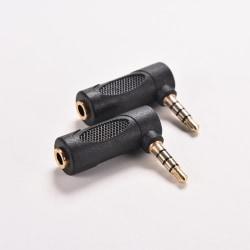 3,5 mm 90 ° pol rät vinkel hane till hona Audio Stereo Plug Adap