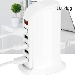 5-port Multi-USB laddstation Hub Base Smart Digital Displa White EU Plug