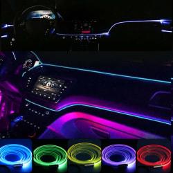 6X 8m RGB LED-fiberoptisk bilinredning Neon EL Strip Light Lamp