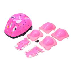 7st / set Barn Säkerhetshjälm Knäarmbågssats Cykelskydd Pink B