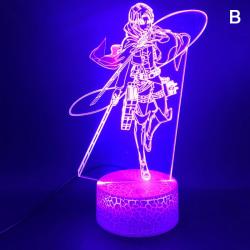 Anime Figur Attack på Titan Levi Ackerman LED Night Light Acry B-Crack base