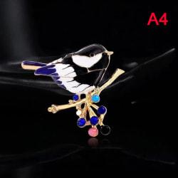 fågel brosch stift kvalitet emalj ainmal broscher nyårsdesign Black