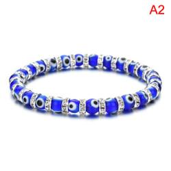 Blå Turkish Evil Eye elastiska armband Charms Crystal Beaded Br Blue