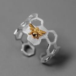 kreativ honungsbi boet öppningsring ihålig färg bi ring ac 2*2cm