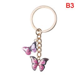 dubbel fjäril nyckelring färgglada fjäril nyckelring ring väska B3