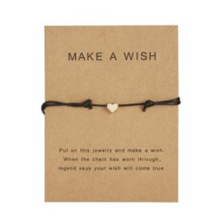 Gör ett önskemål Papper Card Love Woven Armband Mode Smycken Gif Black Love