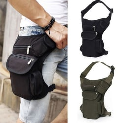 Mens Canvas Tactical Motorcycle Riding Hip Fanny Pack Midja Thi Black