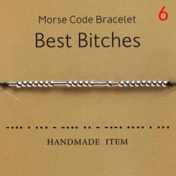 Morse Code Armband Charm Pärlor Armband Valentines Friendship 6