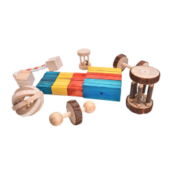 Natural Pine Dumbells Unicycle Bell Roller Chew Toys för Guinea Bark without watermelon