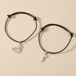 Nytt mode par armband armband hjärta nyckel hänge älskare Roma Black