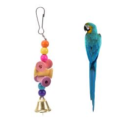 papegoja husdjur fågel tugga bit leksak träklockbur gunga leksaker cocka multicolour 3cmx1.5cmx16cm