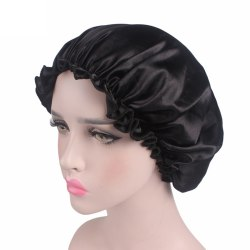 Silk Satin Night Sleep Cap Hair Bonnet Hat Head Cover Wide Band Black