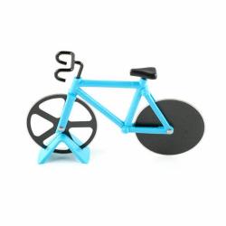 Rostfritt stål cykel Pizza Cutter Bike Dual Slicer Chopper H Blue