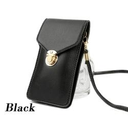 Touchable PU läderbyte väska mobiltelefon väska fickväska ut Black